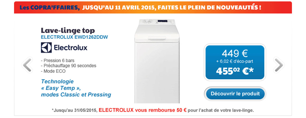 lave linge electrolux promo ewd1262ddw vente et. Black Bedroom Furniture Sets. Home Design Ideas